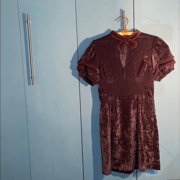 sretsis Dresses & Skirts - Vintage Brown Velvet Mini Dress